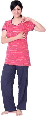 O Baby Feeding Women's Polka Print Red, Black Top & Pyjama Set
