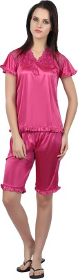 Teleno Women's Solid Pink Top & Capri Set