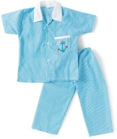 BownBee Kids Nightwear Boys Embroidered Cotton(Blue)