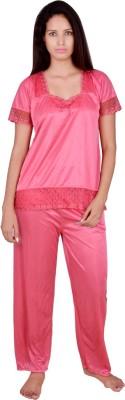 Kanika Women's Self Design Pink Top & Pyjama Set