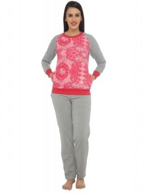 La Zoya Women's Printed Grey Top & Pyjama Set