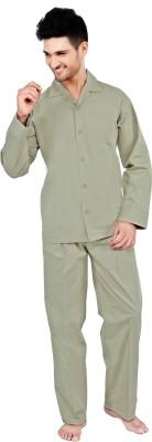 Tatwam Woven Men's Solid Light Green Top & Pyjama Set