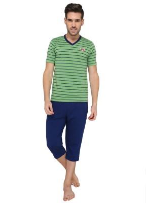 Valentine Men's Striped Green Top & Capri Set
