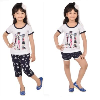 CHOCOBERRY Girl's Printed White, Blue Top, Capri & Shorts Set