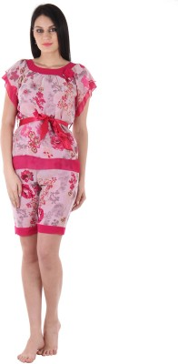 Private Lives Women's Printed Pink Top & Shorts Set