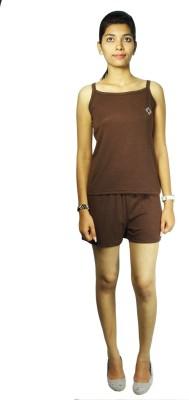 Bluedge Women's Solid Brown Top & Shorts Set