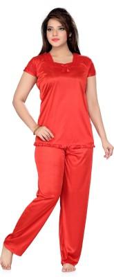 Ishin Women's Solid Orange Top & Pyjama Set