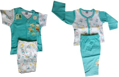 Little Hub Baby Boy's Printed Blue, White Top, Pyjama & Shorts Set