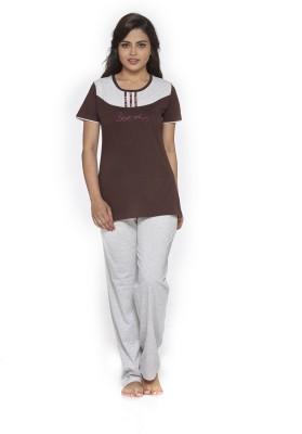 Melodie Women's Graphic Print Brown, White Top & Pyjama Set