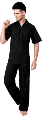Tatwam Woven Men's Solid Black Top & Pyjama Set