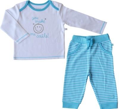 Babeez Baby Boy's Solid, Striped Blue, White Top & Pyjama Set