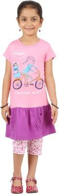 SPN Garments Girl,s Graphic Print Pink, Purple Top & Capri Set