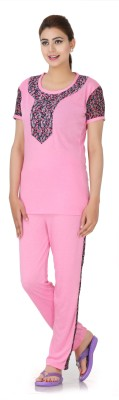Broche Women's Printed Pink Top & Pyjama Set