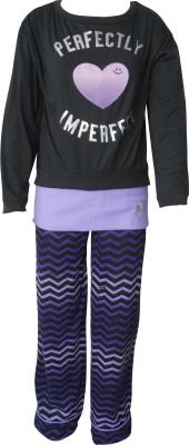 Junior Boxer Women's Solid Black Top & Pyjama Set