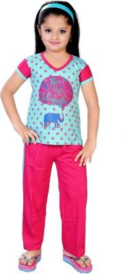 13 in Girl's Printed Blue Top & Pyjama Set