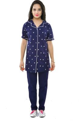 One Liner Women's Printed Blue Top & Pyjama Set at flipkart