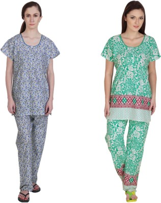 Simrit Women's Printed Blue, Green Top & Pyjama Set
