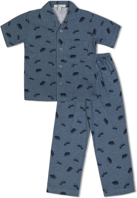 Green Apple Boy's Printed Blue Top & Pyjama Set