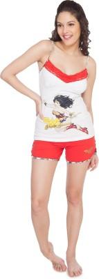 SOIE Women's Printed White Top & Shorts Set