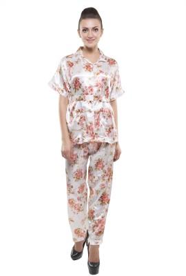 Kunchals Long Satin Women's Self Design Multicolor Top & Pyjama Set