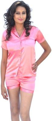 Miss-Me Women's Solid Pink, Light Blue Top & Shorts Set