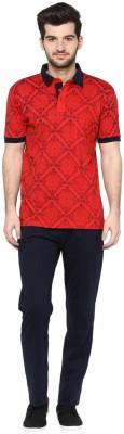 Cayman Men's Printed Red Top & Pyjama Set