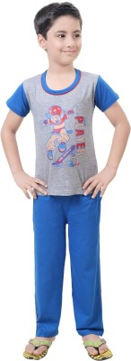 Be 13 Boy's Printed Grey Top & Pyjama Set