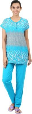 Informal Wear Women's Floral Print Blue Top & Pyjama Set