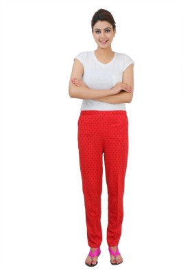 Broche Women's Printed Red Top & Pyjama Set