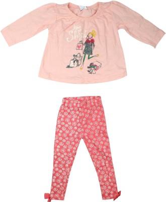 Parv Collections Baby Girl's Printed Pink Top & Pyjama Set