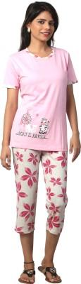Elite Women's Printed Pink Top & Capri Set