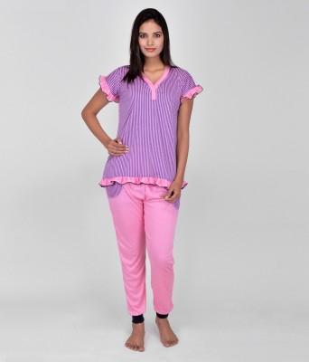 World Of Fashion Women's Solid Pink Top & Pyjama Set