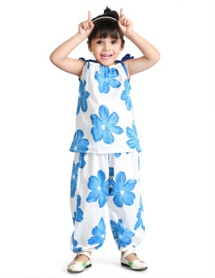 Little Pocket Store Baby Girl's Printed Blue Top & Pyjama Set