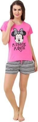 BrandMeUp Women,s Printed Pink Top & Shorts Set