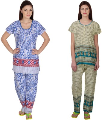 Simrit Women's Printed Blue, Blue Top & Pyjama Set