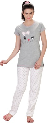 Lazy Dazy Women's Printed Grey, White Top & Pyjama Set