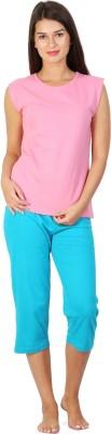 Click Hit Softle Top Payjama set Women's Solid Pink, Light Blue T-shirt & Three-forth Set
