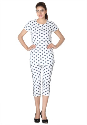 Broche Women's Polka Print White Top & Capri Set