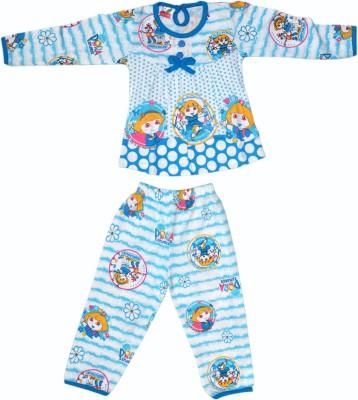 Belle Girl Girl's Printed Blue Top & Pyjama Set