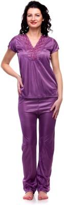 For She Women's Solid Purple Top & Pyjama Set