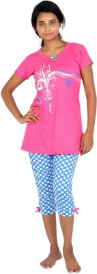 F FASHIONSTYLUS Women's Printed Pink, Blue Top & Capri Set