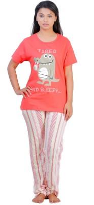 July Cotton Two Piece Women's Printed Pink, White Top & Pyjama Set