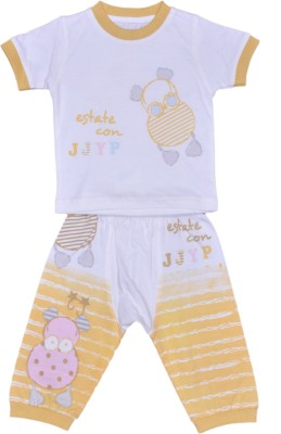 Johny Johny Yes Papa Baby Boy,s Self Design Yellow Top & Pyjama Set
