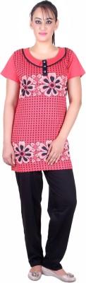 Di Tutti Women's Floral Print Red Top & Pyjama Set