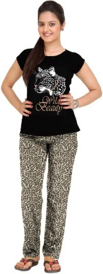 So Sweety Womens Printed Black Top & Pyj...