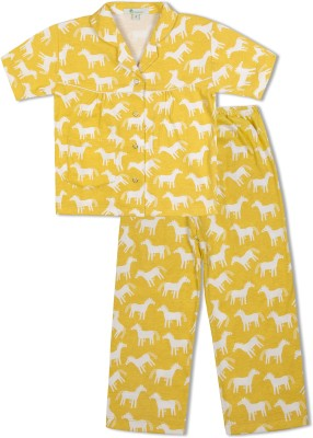 Green Apple Girl's Printed Yellow Top & Pyjama Set