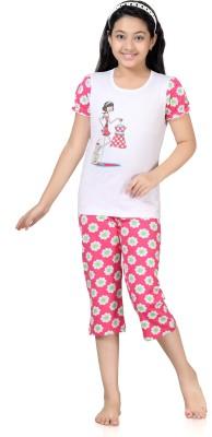 Kombee Girl's Printed White, Pink Top & Capri Set