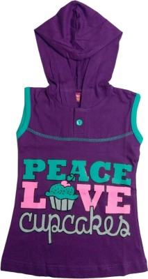Tomato Girl's Printed Purple T-shirt & Three-forth Set