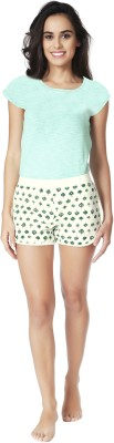 Mystere Paris Women's Printed Green Top & Shorts Set