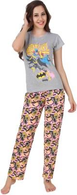 Big Pout Women's Printed Pink Top & Pyjama Set